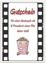 Gutschein für einen Kinobesuch mit Film und Popcorn