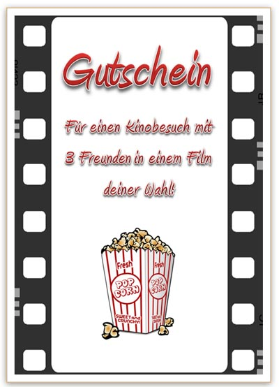 gutschein f r einen kinobesuch mit film und popcorn. Black Bedroom Furniture Sets. Home Design Ideas