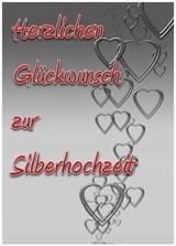 Silberohchzeitskarte mit Herzen