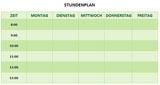 Grüner Stundenplan für die Schule