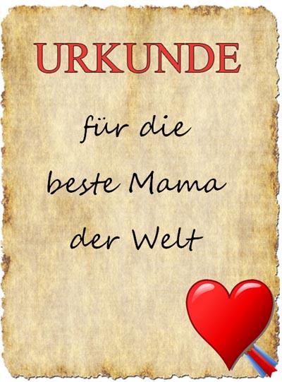 Urkunde für die beste Mama der Welt
