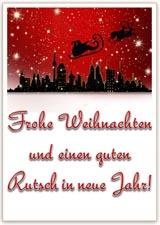 Vorlage Weihnachtskarte mit Schlitten und Rentieren